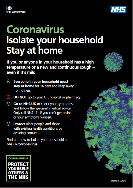 Coronavirus: Isolate yourself and your household. Stay at home. Click for more information.