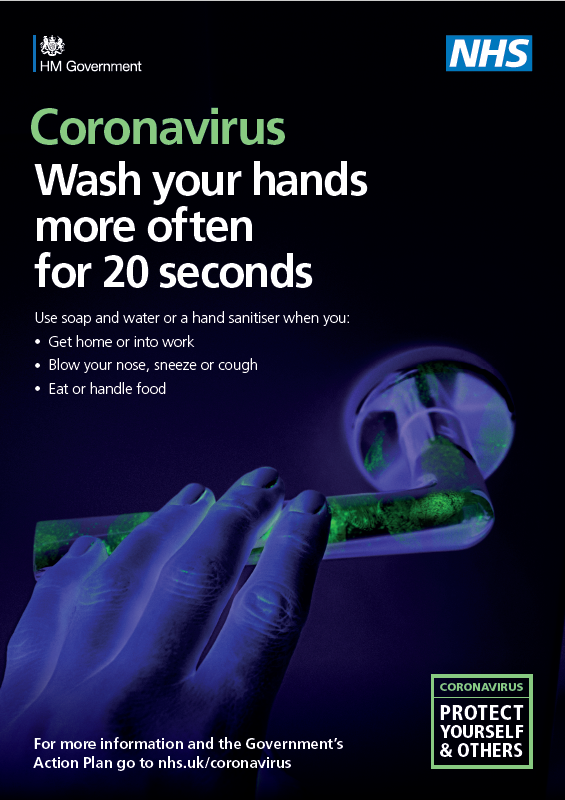 Coronavirus: Wash your hand more than usual for 20 seconds. Click for more information.